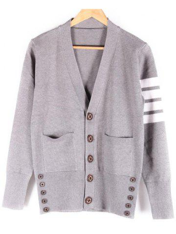 Affordable Pocket Front V-Neck Button Up Striped Cardigan
