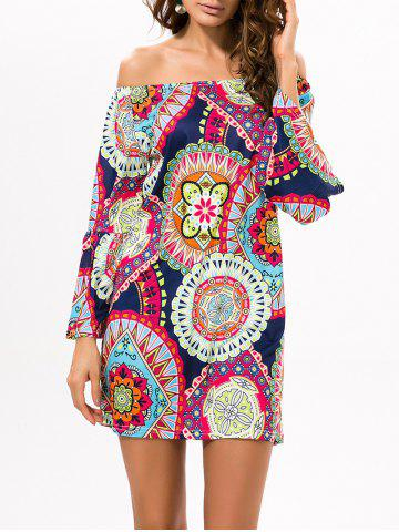 Sale Printed Off The Shoulder Mini Casual Dress