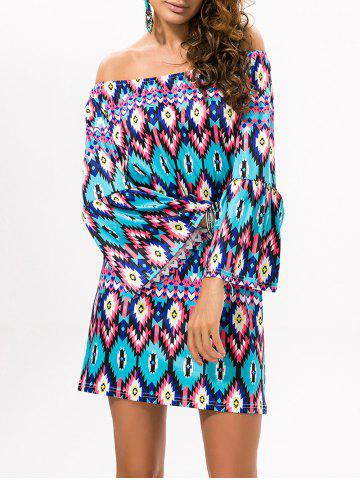 Hot Flare Sleeve Off The Shoulder Printed Dress
