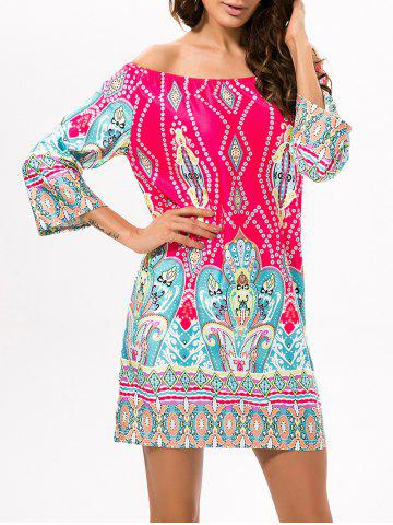 Fancy Ethnic Style Off The Shoulder Printed Dress
