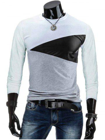 Crew Neck PU-Leather Spliced Color Block T-Shirt - White - M
