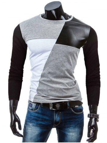 Chic Crew Neck Color Block PU-Leather Spliced T-Shirt GRAY XL
