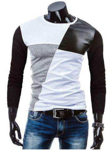 Crew Neck Color Block PU-Leather Splicing T-Shirt - White - M