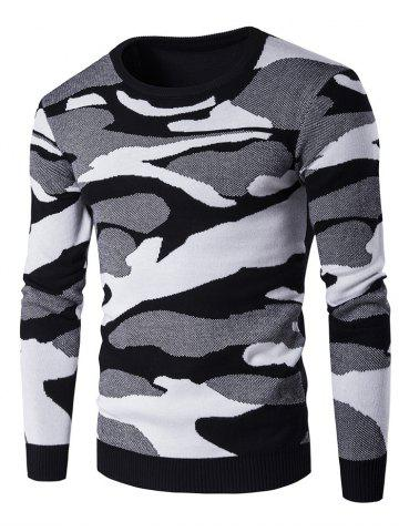 Hot Crew Neck Camouflage Pattern Long Sleeve Sweater BLACK 2XL