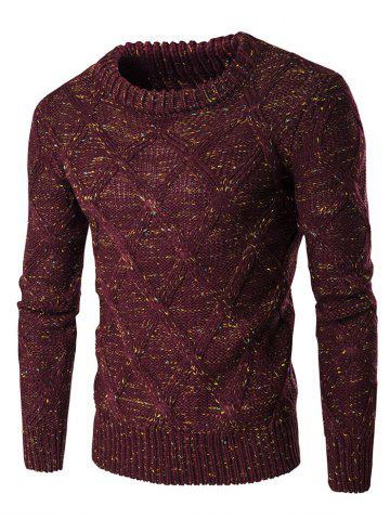 Store Crew Neck Colorful Kink Design Long Sleeve Sweater WINE RED 2XL