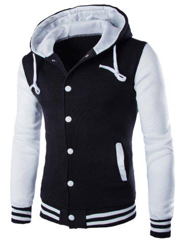 Outfits Hooded Stripe Rib Splicing Single-Breasted Drawstring Hoodie