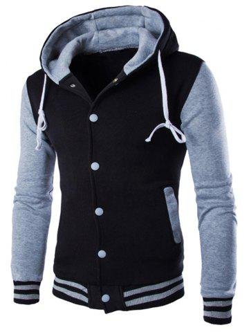 Unique Hooded Stripe Rib Splicing Single-Breasted Drawstring Hoodie - GRAY M Mobile