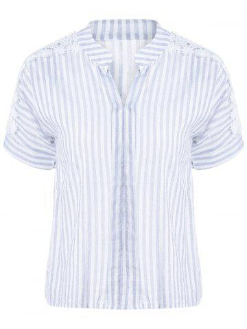 New Striped Lace Insert Blouse