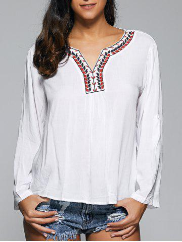 Sale Embroidered Strappy Criss Cross Blouse
