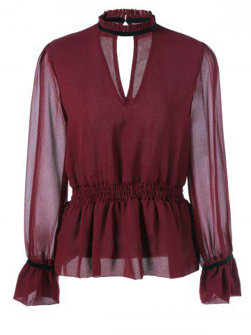 Online Semi-Sheer Cut Out Shirred Blouse