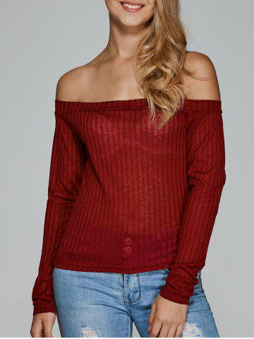 Discount Off The Shoulder Textured Knitwear CLARET 2XL