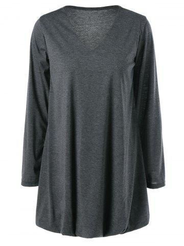 Fashion V-Neck Asymmetrical Plain Dress DEEP GRAY XL