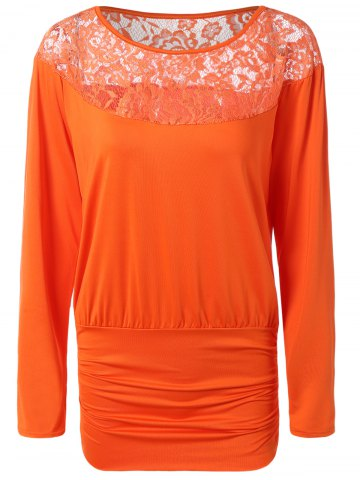 Lace Splicing Hollow Out Tee - Darksalmon - S