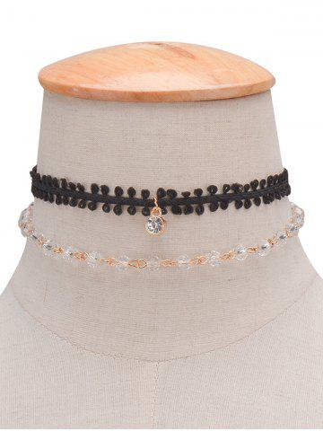 Store Rhinestone Braid Layered Choker Necklace BLACK