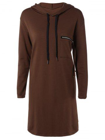 Store Hooded Long Sleeve Dress with Pocket DEEP BROWN ONE SIZE
