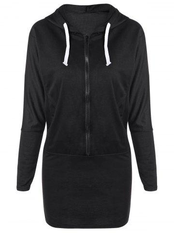 Outfit Zippered Hooded Long Sleeve Dress with Pocket BLACK ONE SIZE