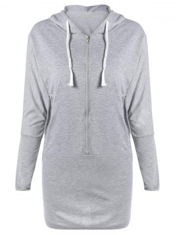 Zippered Hooded Long Sleeve Dress with Pocket