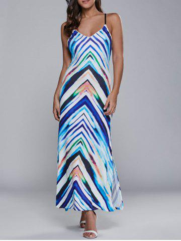 Latest Lace Up Striped Maxi Dress
