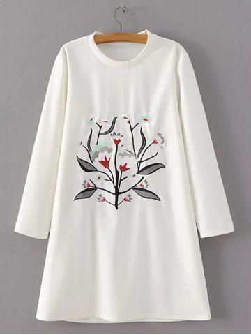 Latest Flower Embroidered Loose T-Shirt Dress
