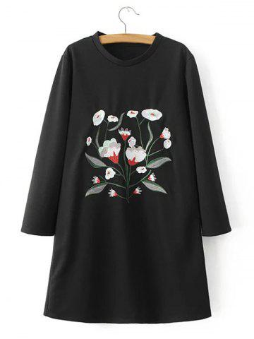 Shops Flower Embroidered Loose T-Shirt Dress