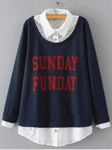 Outfit Plus Size Embroidered Fleece Spliced Sunday Sweatshirt