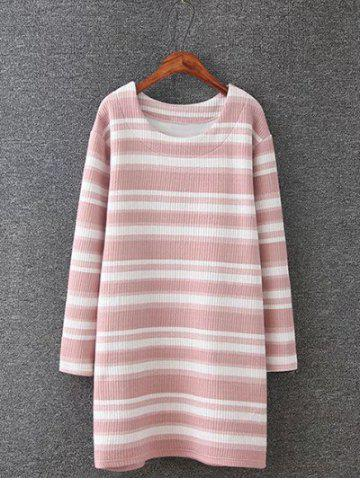 Best Plus Size Stripe Knitted Dress PINK 4XL