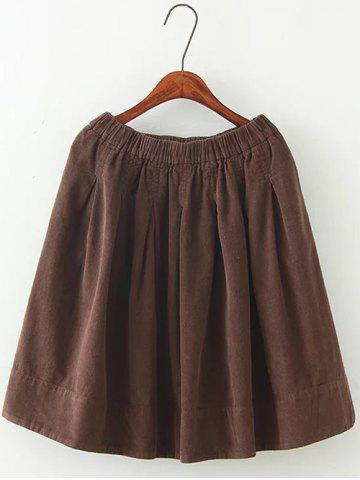 Outfits Plus Size Corduroy Flare Skirt COFFEE 2XL