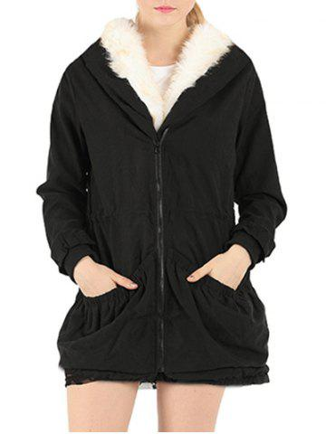 Fake Fur Drawstring Parka Warm Hooded Coat - Black - Xl