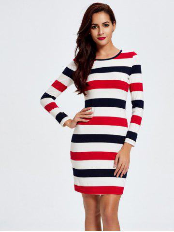 Stripe Long Sleeve T-Shirt Slimming Dress - White - M