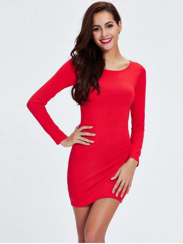 Hot Ribbed Long Sleeve Tight Dress RED M