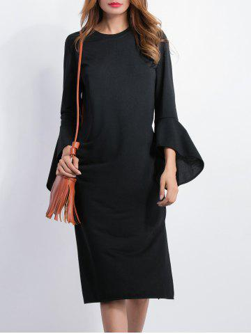 Store Bell Sleeve Fitted Slit Dress