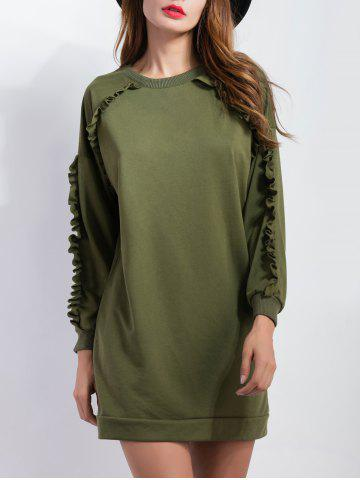 Sale Ruffled Sleeve Short Sweatshirt  Dress ARMY GREEN XL