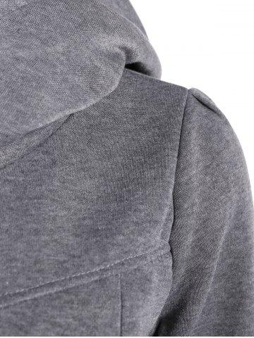 Cheap Slim Pockets Design Pullover Neck Hoodie - M GRAY Mobile