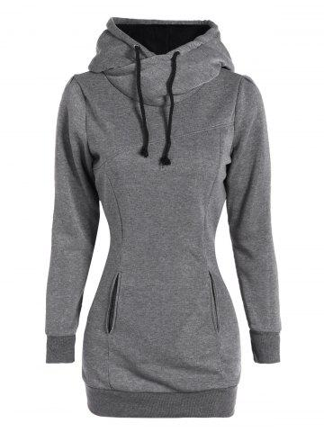 Slim Pockets Design Pullover Neck Hoodie - Gray - S
