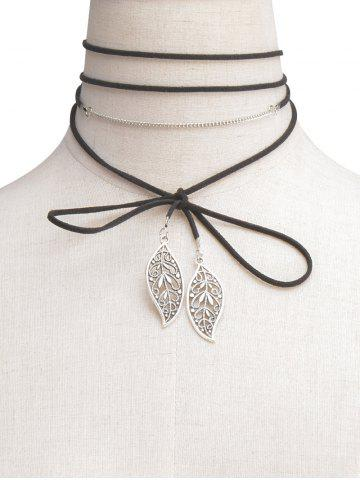Hot Hollowed Leaf Wrap Choker Necklace