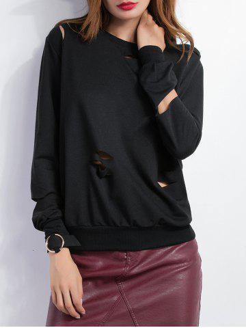 Unique Loose Long Sleeve Cutout Sweatshirt