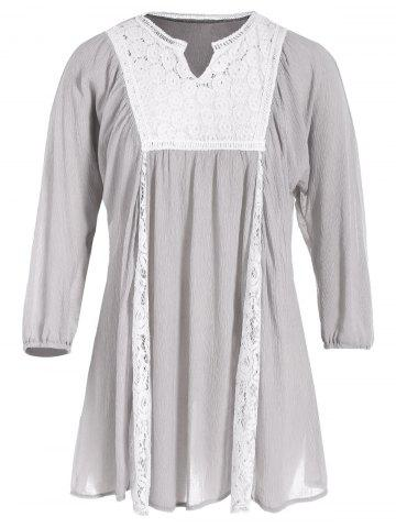 New Lace Spliced Openwork Blouse