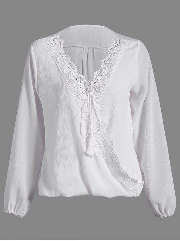 Chic Patchwork Surplice Crochet-Trim Blouse