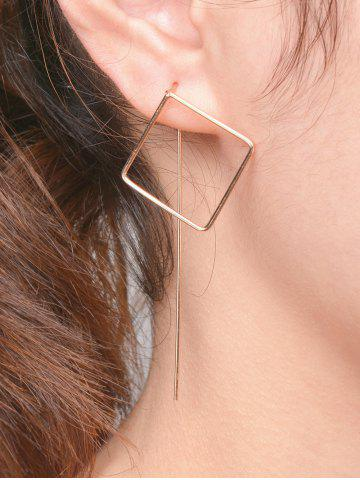 Pair Of Hollow Out Square Earrings - GOLDEN