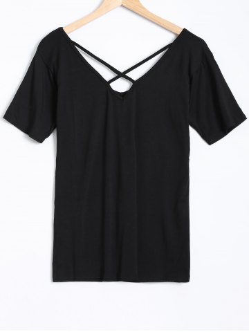 Fancy Short Sleeves Criss Cross T-Shirt