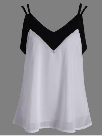 Outfit Loose Color Spliced Chiffon Tank Top