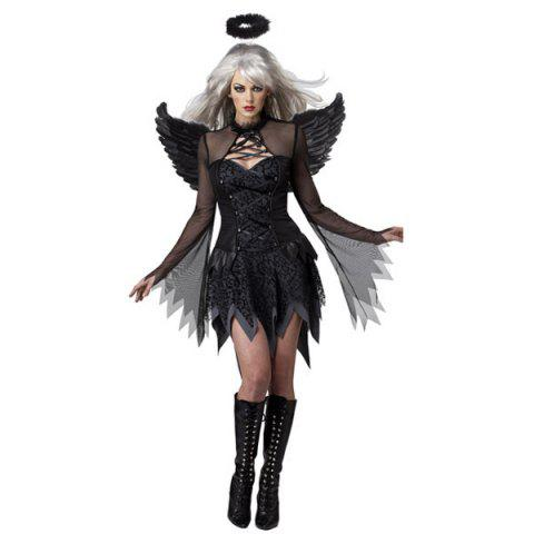 Cosplay Suit Exotic Apparel Sexy Adult Dark Devil Fallen Angel Halloween Costume - Black - S