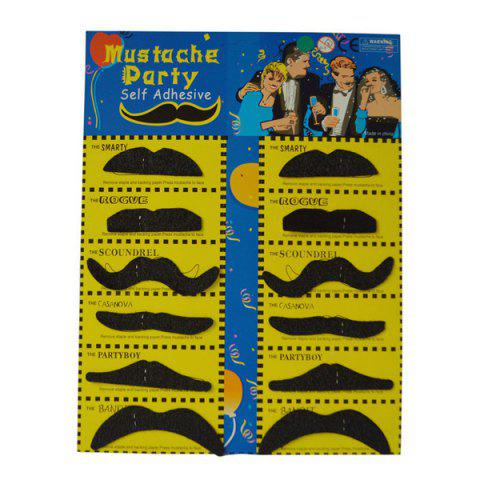 Affordable 12Pcs Funny Costume Party Halloween Fake Mustache - BLACK  Mobile