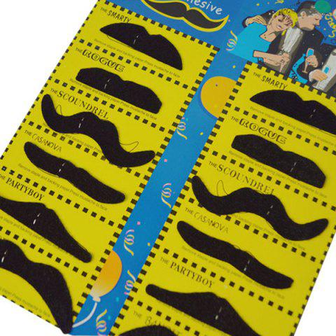 Best 12Pcs Funny Costume Party Halloween Fake Mustache - BLACK  Mobile