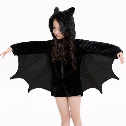 Buy Kids Halloween Party Supply Cosplay Bat Zipper Jumpsuit Connect Wings Costume For Girls - S BLACK Mobile