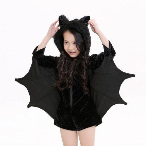 Unique Kids Halloween Party Supply Cosplay Bat Zipper Jumpsuit Connect Wings Costume For Girls - S BLACK Mobile