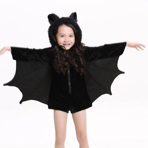 Online Kids Halloween Party Supply Cosplay Bat Zipper Jumpsuit Connect Wings Costume For Girls - S BLACK Mobile