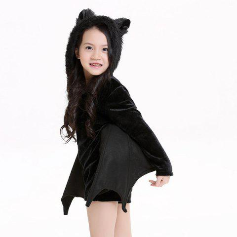 Best Kids Halloween Party Supply Cosplay Bat Zipper Jumpsuit Connect Wings Costume For Girls - S BLACK Mobile