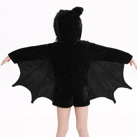 Cheap Kids Halloween Party Supply Cosplay Bat Zipper Jumpsuit Connect Wings Costume For Girls - S BLACK Mobile
