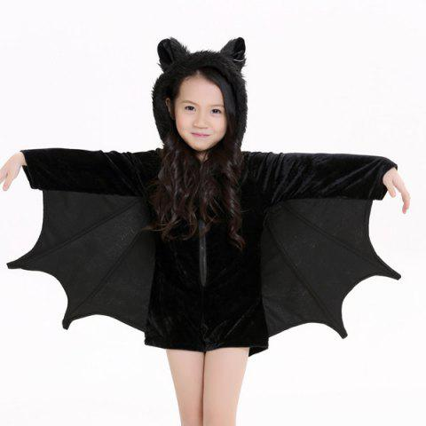 Store Kids Halloween Party Supply Cosplay Bat Zipper Jumpsuit Connect Wings Costume For Girls - S BLACK Mobile